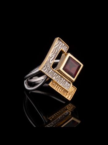 Garnet silver and gold plated ring