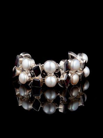 Pearl and garnet silver bracelet