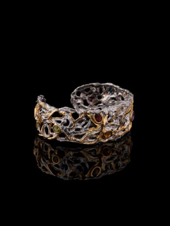 Mix stone bracelet with 14K gold plating