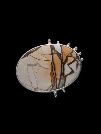 Mookaite Silver Brooch