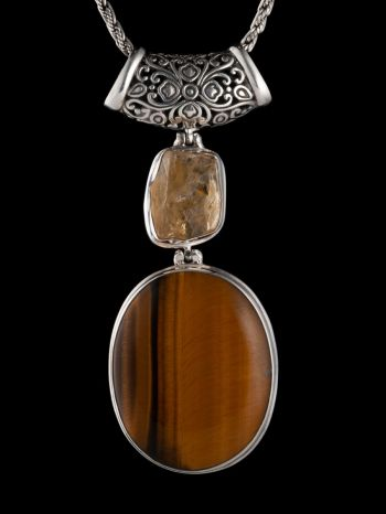 Tiger Eye And Citrine Silver Pendant