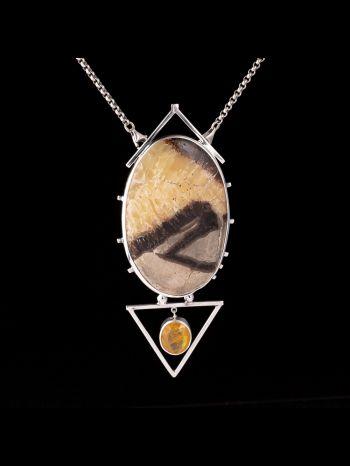 Yellow Apatite And Botswana Agate Silver Pendant