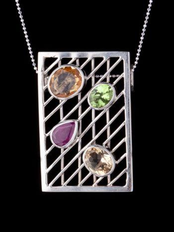 Mixed Stone Silver Pendant