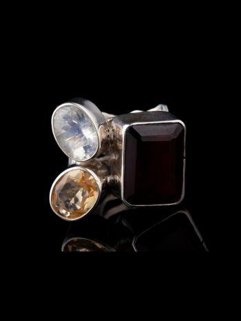 Garnet, Citrine, Rainbow Moonstone Silver Ring