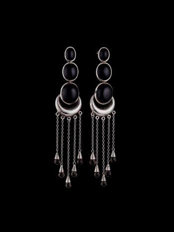 Smoky Quartzand Onyx Silver Earrings