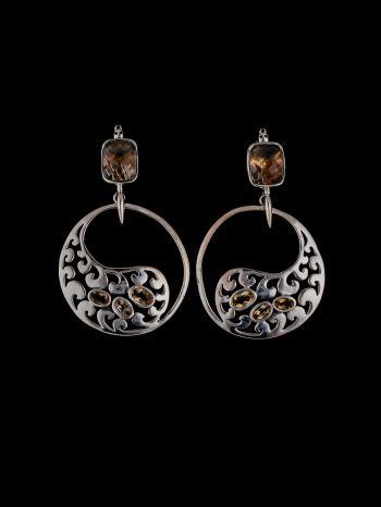 Smoky Quartz And Citrine Silver Earrings