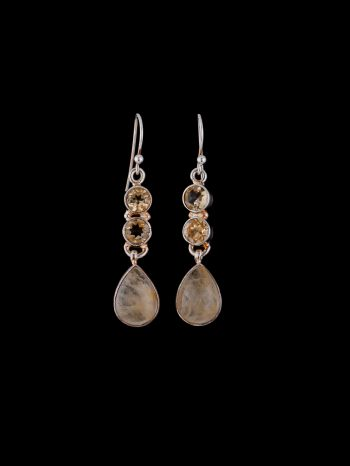 Citrine and rutile q. Silver earrings