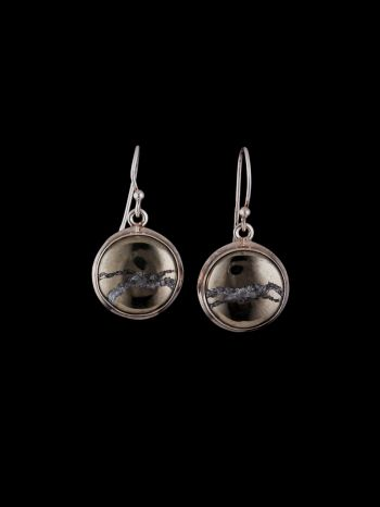 Pyrite in magnetite silver earring