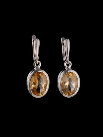 Citrine silver earrings