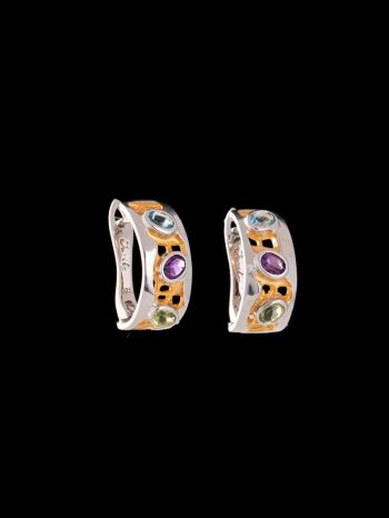 Mix stone silveer and 14K gold plated erarrings