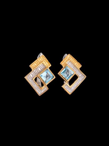 Swiss topaz silver and 14K gold plated erarrings