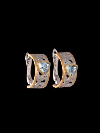 Blue topaz silver and 14K gold plated earrings