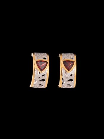 Garnet silver and 14K gold plated earrings