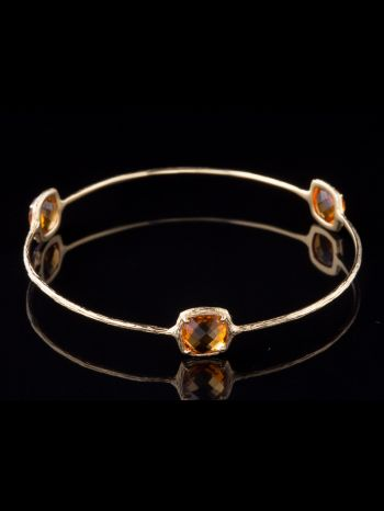 Three Citrine 14K Gold Bracelet