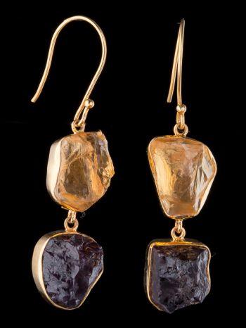 Citrine And Garnet 14K Gold Earrings