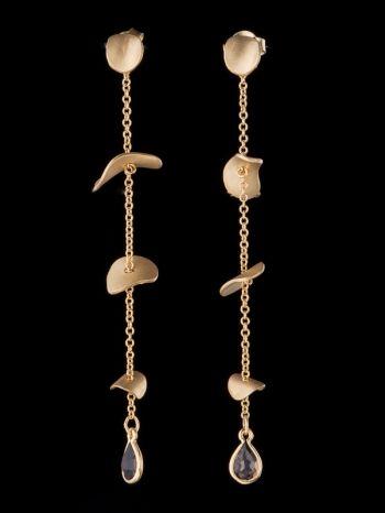Smoky Quartz And 14K Gold Earrings