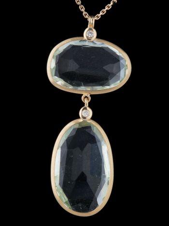 Green Amethyst And Diamond 14K Gold Pendant