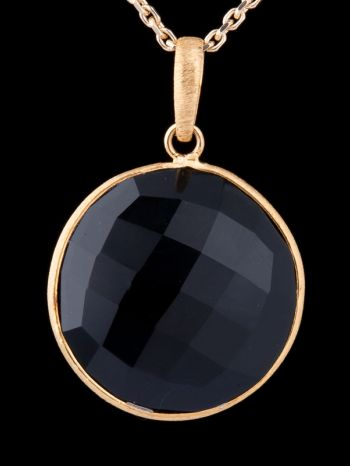 Faceted Onyx 14K Gold Pendant