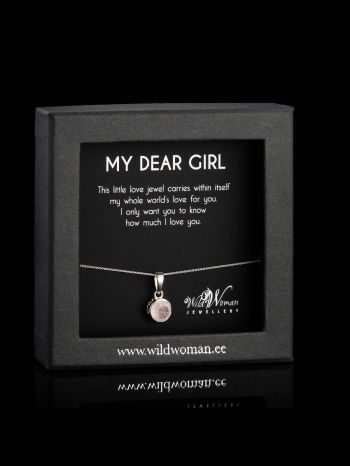 Small rose quartz silver pendant and -chain for a daughter