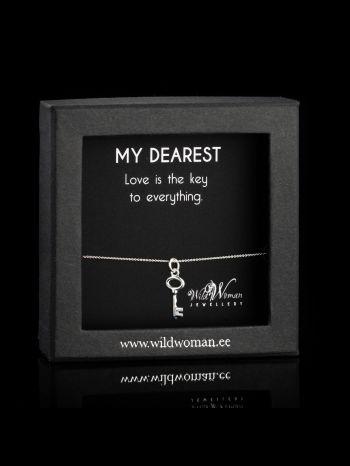 "Key silver necklace ""Key to love"""