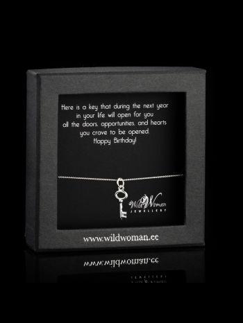 "Key silver necklace ""Happy B-Day"""