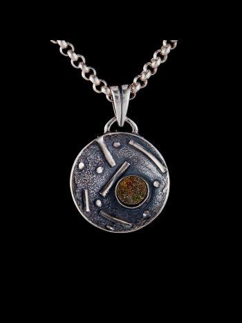 Pyrite Silver Brooch