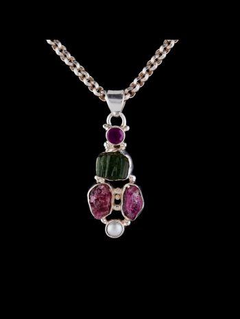 Rough tourmaline silver pendant