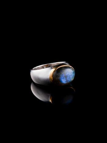 Labradorite brass silver ring