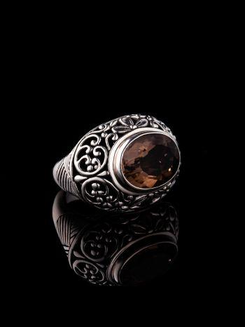 Silver Ring With Smoky Quartz