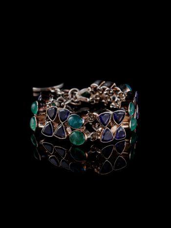 Iolite And Apatite Silver Bracelet