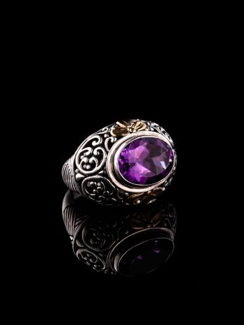 Amethyst And Gold Silver Ring