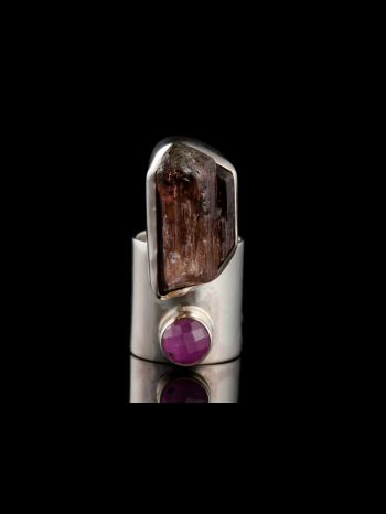 Silver Ring With Tourmaline And Ruby