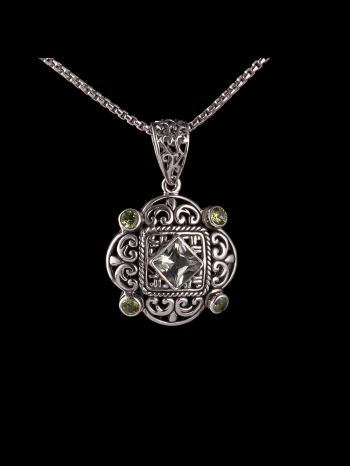 Green ametyst and peridot silver pendant