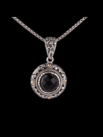 Onyx and 18K gold silver pendant
