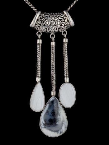 Dendrite Agate And Scolicite Silver Pendant