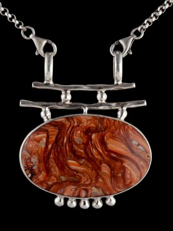 Red Opal Silver Pendant