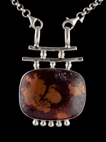Copper Jasper Silver Pendant