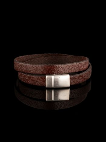 Brown leather bracelet/necklace with magnet