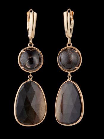 Rutile quartz 14K Gold earrings