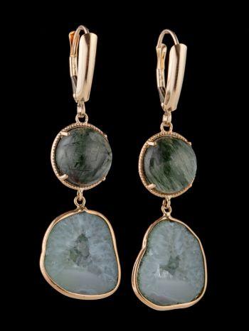Rutile quartz, geode 14K Gold earrings