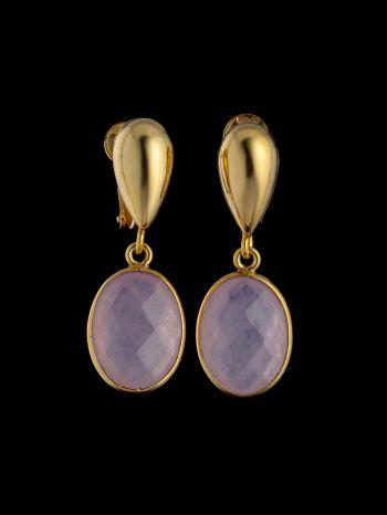 Rose quartz gold plated silver earrings