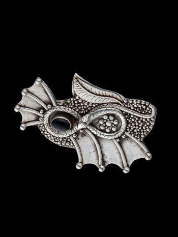 Onyx Silver Brooch