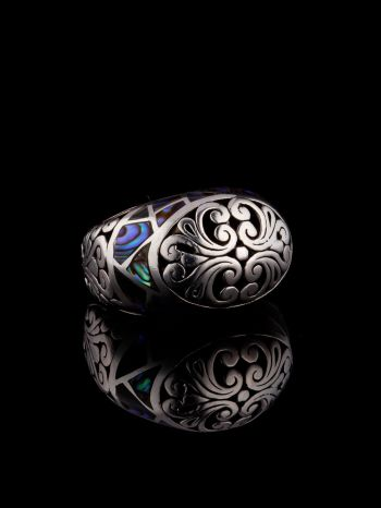 Silver Ring With Green Mother Of Pearl