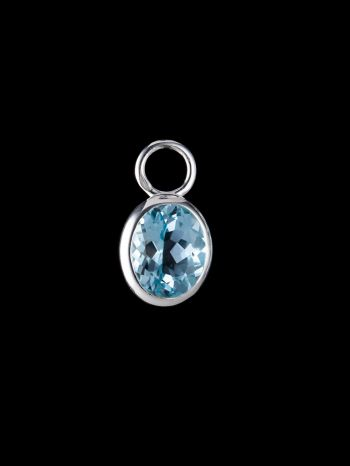 Blue topaz silver charm (single)