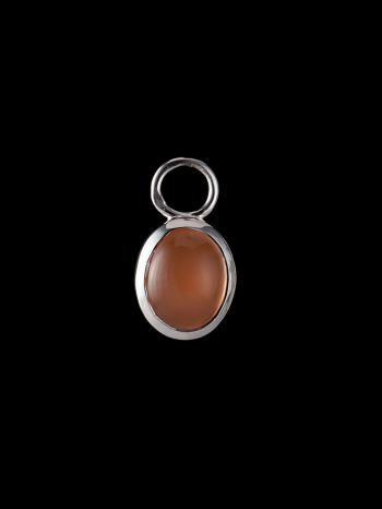 Indian peach moonstone silver charm (single)