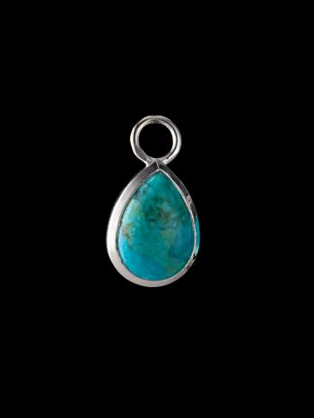 Turquoise silver charm (single)