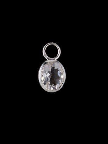 Crystal quartz silver charm (single)
