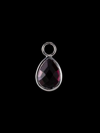 Garnet silver charm (single)