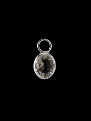 Green ametyst silver charm (single)