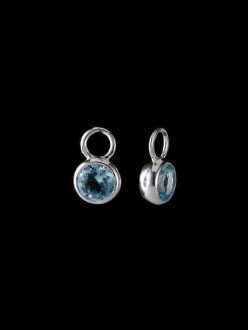 Blue topaz silver ear charms